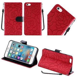 Insten Red/ Black Roses Leather Case Cover Lanyard with Stand For Apple iPhone 6 Plus/ 6s Plus