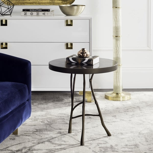 Safavieh Couture High Line Collection Amparo Brown Marble Round End Table