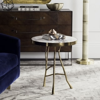 Safavieh Couture High Line Collection Amparo White Marble Round End Table