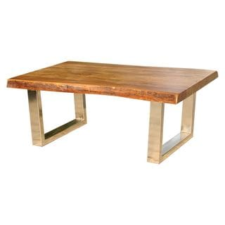 Rustic Wooden Coffee Table with Metal Leg