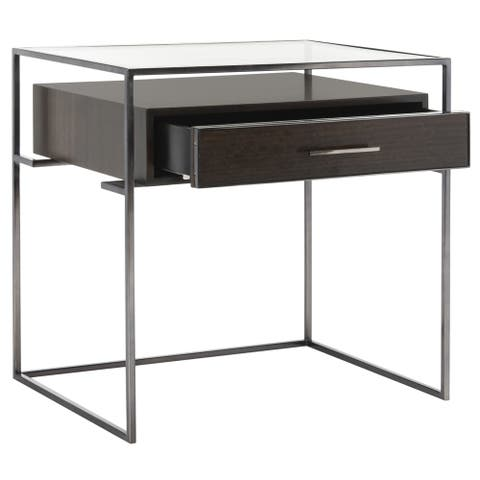Safavieh Couture High Line Collection Modern Caelan Glass Brown Accent Table