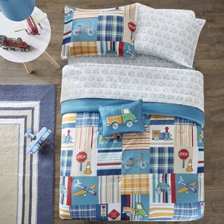 Mi Zone Kids Traveling Trevor Blue Printed Complete Bed and Sheet Set (2 options available)