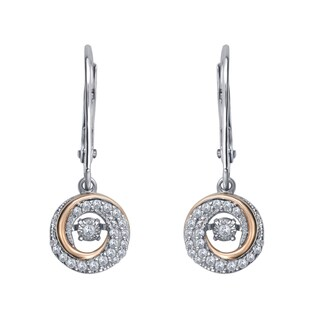 Two-Tone Sterling Silver 1/4ct TDW White Diamond Dangling Earrings