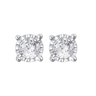 10k White Gold 1ct TDW White Diamond Stud Earrings with Miracle Plate (I-J,I3)