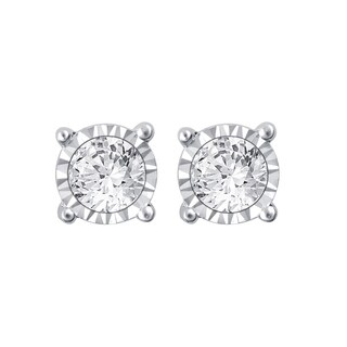 10k White Gold 1ct TDW White Diamond Stud Earrings with Miracle Plate