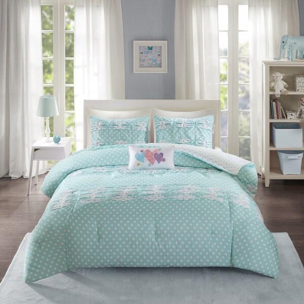Mi Zone Beatrix Aqua Printed 4-piece Comforter Set