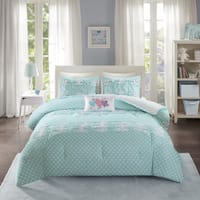 Mi Zone Beatrix Aqua Printed 4-piece Comforter Set