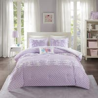 Mi Zone Beatrix Purple Printed 4-piece Comforter Set