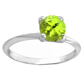Sterling Silver 1 1/2ct TGW Round-cut Peridot Solitaire Bridal Ring Set