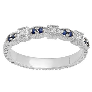 14k Gold 1/6ct TGW Round Blue Sapphire and Diamond Accent Vintage Wedding Band (I-J, I2-I3)