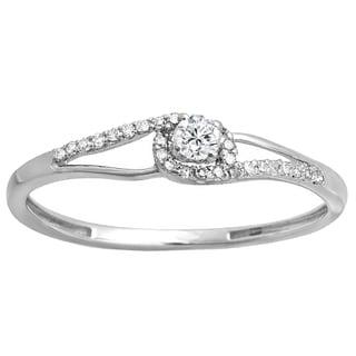 10k Gold 1/5ct TDW Round-cut White Diamond Crossover Swirl Bridal Promise Ring