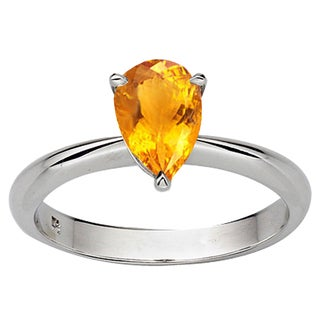 Sterling Silver 1ct TGW Pear-cut Citrine Solitaire Bridal Ring