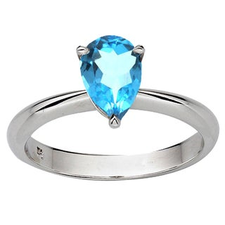 Sterling Silver 1ct TGW Pear-cut Blue Topaz Solitaire Bridal Ring Set