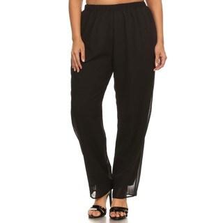 Hadari Women's Plus SizeHigh Waisted Elastic Pleated Pant