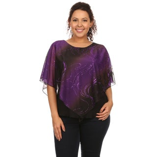 Hadari Women's Plus Size Sequin Poncho Glitter Top (Option: 1x)