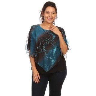 Hadari Women's Plus SizeSequin Poncho Glitter Top