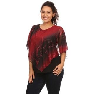 Hadari Women's Plus Size Sequin Poncho Glitter Top