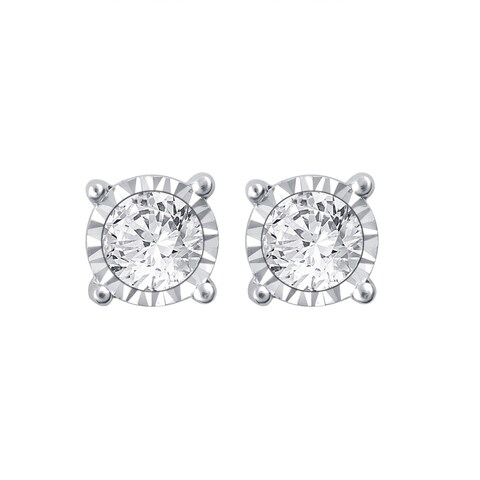 Divina 14k White Gold 3/4ct TDW White Diamond Stud Earrings with Miracle Plates - N/A