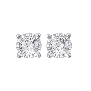 14k White Gold 3/4ct TDW White Diamond Stud Earrings with Miracle Plates