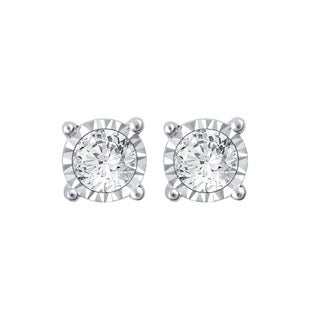 10k White Gold 1/2ct TDW White Diamond Stud Earrings with Miracle Plate Setting