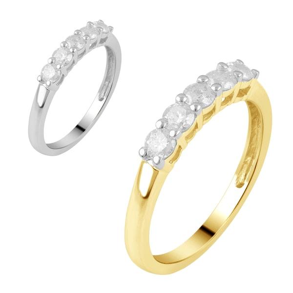 10k White and Yellow Gold 1/2ct TDW White Diamond Anniversary Ring