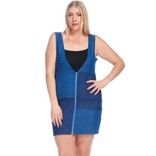 Hadari Women's Plus Size Sleeveless Color Block Overall Denim Dress
