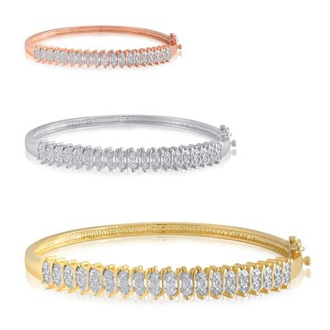 Goldtone White Diamond Accent Fashion Bangle
