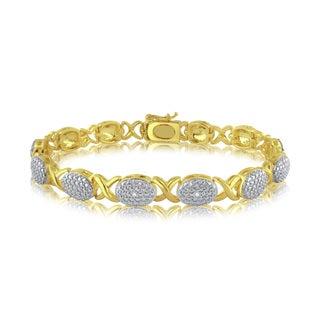 Goldtone White Diamond Accent Fashion Bracelet (I-J,I2-I3)