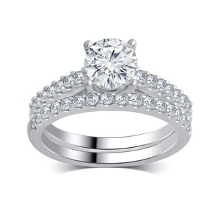 14k White Gold 1 1/2ct TDW White Diamond Bridal Set