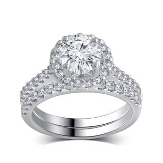 14k White Gold 1 5/8ct TDW White Diamond Bridal Set comes in a box (H-I,I1-I2)