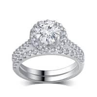 14k White Gold 1 5/8ct TDW White Diamond Bridal Set comes in a box