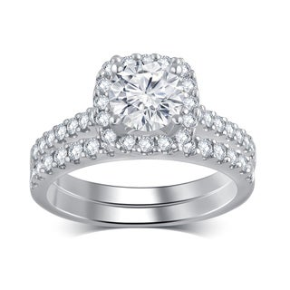 Divina 14k White Gold 1 1/3ct TDW IGL Certified Diamond Bridal Set (H-I, I1-I2)