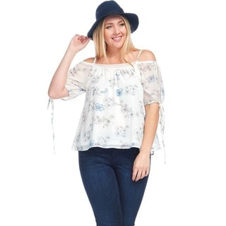 Hadari Women's Plus Size Off Shoulder Chiffon Crochet Blouse Top