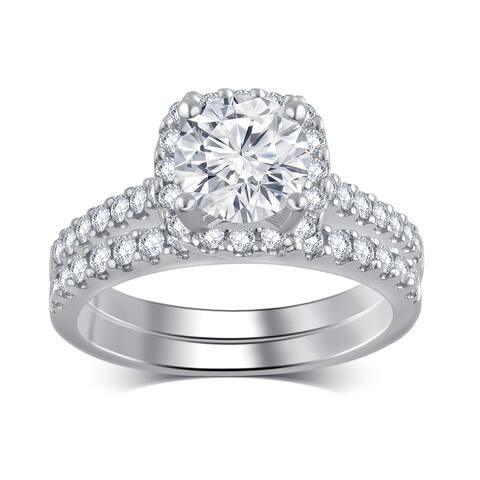 14k White Gold 2 2/5ct TDW White Diamond Bridal Set