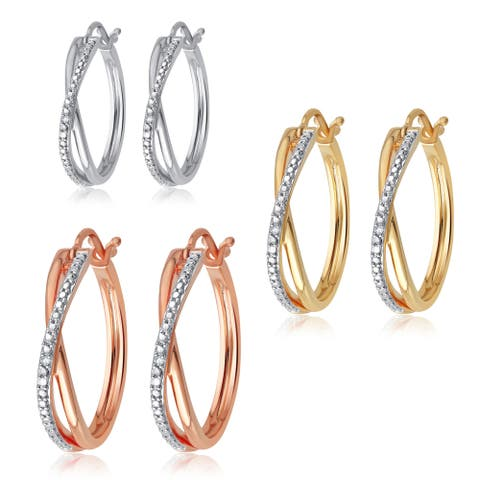 Goldtone and Silvertone Overlay White Diamond Accent Hoop Earring