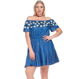 Hadari Women's Plus Size Sexy Off Shoulder Elastic Waist Dress