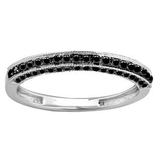 10k Gold 3/8ct TDW Black Diamond Stackable Wedding Enhancer Guard Ring