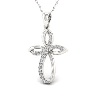 S925 Sterling Silver 1/6ct TDW Diamond Cross Necklace