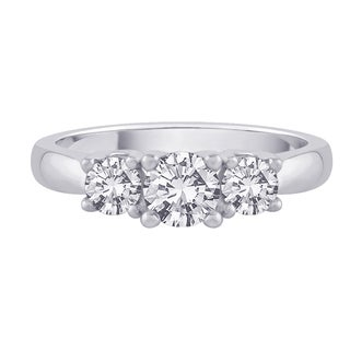 14K White Gold 1/4ct TDW Diamond 3-stone Engagement Ring