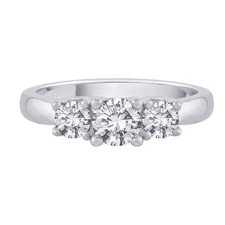 14K White Gold 1/4ct TDW Diamond 3-stone Engagement Ring