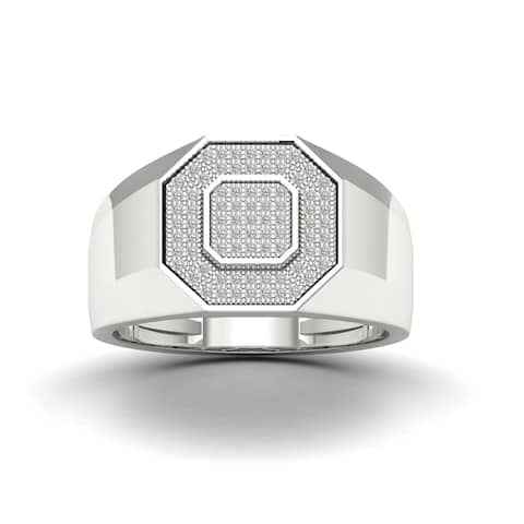 S925 Sterling Silver 1/4ct TDW Diamond Men's Ring - White