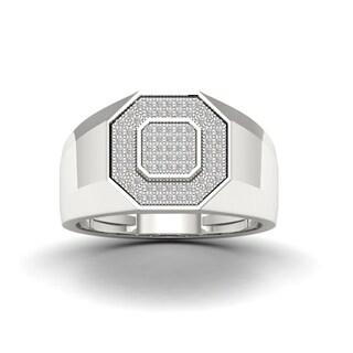 S925 Sterling Silver 1 4ct TDW Diamond Men S Ring White