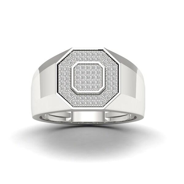S925 Sterling Silver 1/4ct TDW Diamond Men's Ring - White