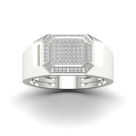 IGI Certified Sterling Silver 1/4ct TDW Diamond Men's Ring - White