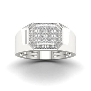 Sterling Silver 1/4ct TDW Diamond Men's Ring - White