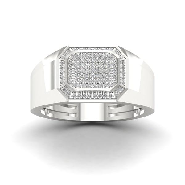 IGI Certified Sterling Silver 1/4ct TDW Diamond Men's Ring - White