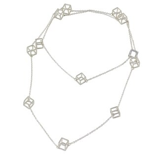 Handcrafted Sterling Silver 'Silver Cubism' Necklace (India)