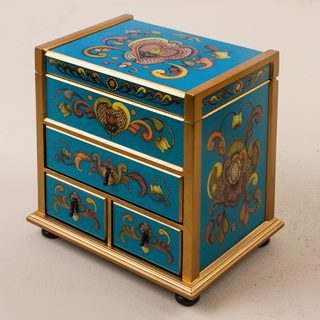 Handcrafted Reverse Painted Glass 'Floral Drawers' Jewelry Box (Peru)