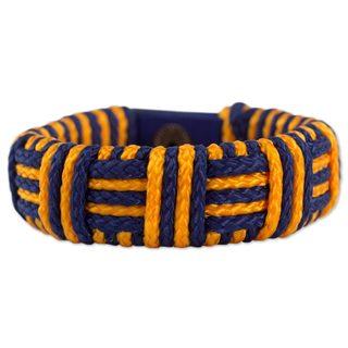 Handcrafted Polypropylene Cord 'Blue and Gold Kente Power' Bracelet (Ghana)