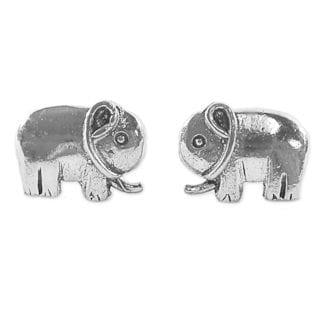 Handmade Sterling Silver 'Little Elephants' Earrings (Thailand)